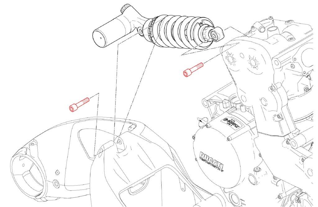 Befestigungsschrauben des Federbeins an Schwinge und Zylinderkopf des stehenden Zylinders. Monster 1200S