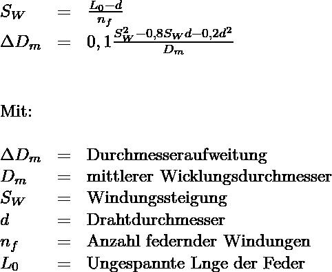 Druckfeder, Formel zur Berechnung von Durchmesseraufweitung und Verdrehwinkel der Federenden relativ zueinander.