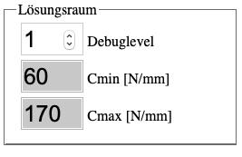 "Parameter-Block ""Lösungsraum"" des Interaktiven Feder-Simulators."