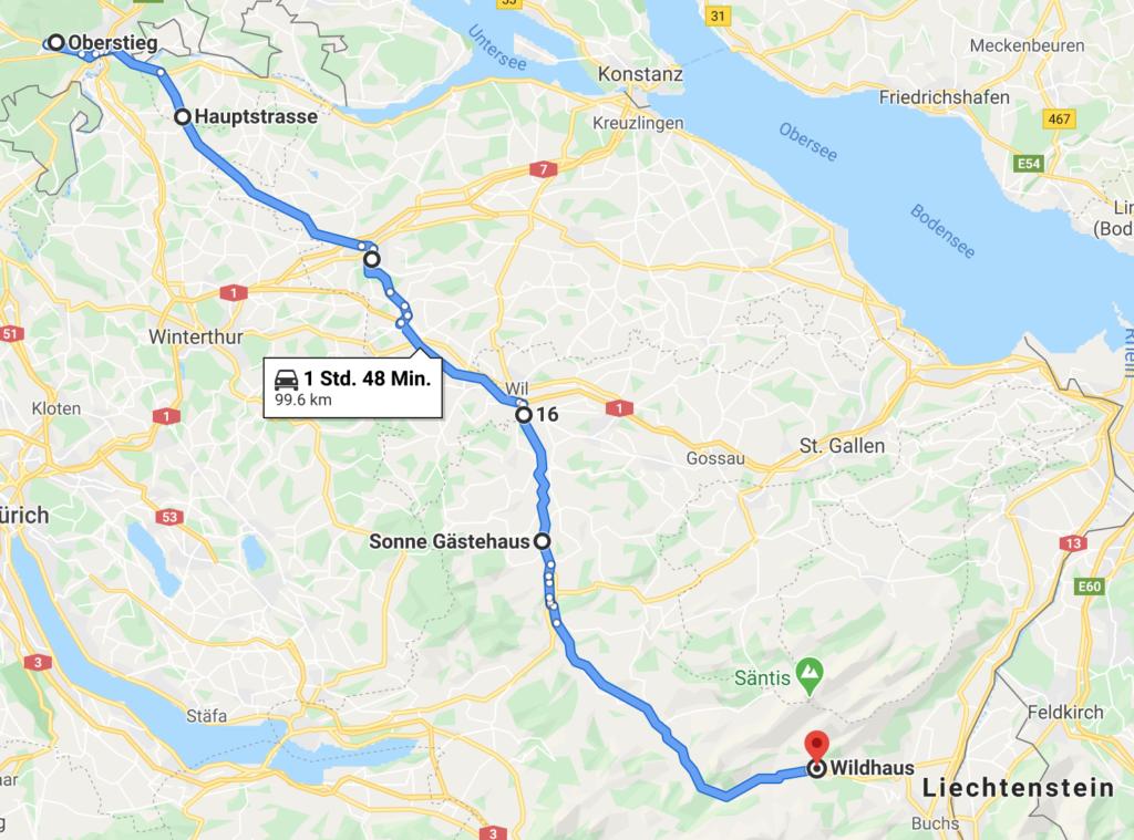 Unsere Standard-Anreise ab Schaffhausen in Richtung Süden